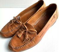 COLE HAAN Men's Vintage Light Brown Leather Mocassin Tassel Loafer Shoes SZ 8