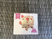 Baby Girl Gift My First Piggy Bank Pink White Ceramic Pig Christening New In Box