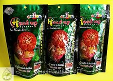 3 x Best OKIKO Flowerhorn Head Up Huncher Fish Platinum Quick Green Fish Food