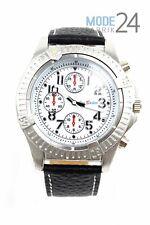 Herrenuhr Jay Baxter Lederarmband Watch Herren Uhr Silber Schwarz Drehlünette
