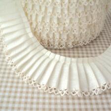 PLAIN PLEATED GATHERED picot / lace edge FABRIC TRIM  RIBBON cotton blend fabric