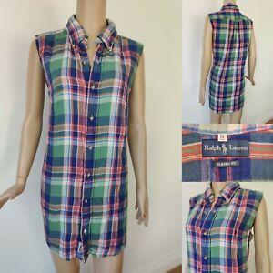 RALPH LAUREN Women Long Shirt Dress Size M Genuine Check Blue/Green *description