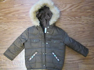 Gymboree Brown Snap Button Up Long Sleeve Hooded Parka Girs 4 Excellent