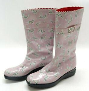 STUART WEITZMAN WOMENS RAIN BOOTS ~ PINK DALMATIANS ~ WOMENS 7.5US ~ EUC
