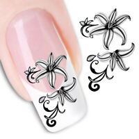 AU_ FT- Nail Art Stickers Water Transfer Flower Decals Manicure DIY Decor Tips C