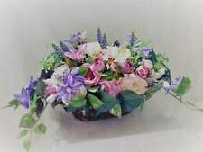 Silk Floral Centerpiece, Pink and lilac arrangement, Silk Flowers arrangement