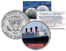 RMS Queen Mary Ocean Liner Colorized JFK Kennedy Half Dollar US Coin Collectible