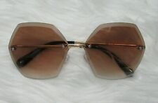 Brown Rimless Gold Metal Frame SunGlasses