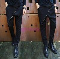 Mens Harem Pants Korean Casual Skinny Hip Hop dance rivet studded Trousers Black
