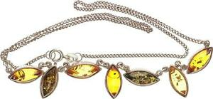 Necklace Amber, Silver 925, Length 44cm, 9,37g Very Good Condition