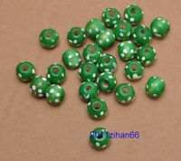 50pcs 100pcs Charm Dyed Dot Round Wood Spacer Beads 10x9mm Jewelry Making