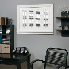 4 Louver Panels Faux Shutter Vinyl Wood White 35 x 24 in. Interior Traditional