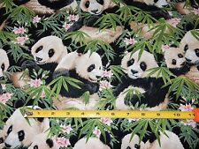 "1 yard Panda Bear Eating Bamboo Cotton Fabric Craft Quilt 44"" wide"