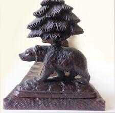Antique Carved Black Forest Adjustable Walnut Bear And Tree Book Ends Bookslide