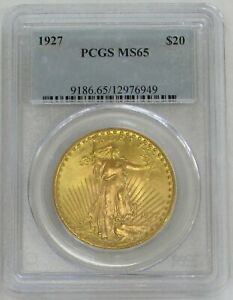 1927 GOLD $20 SAINT GAUDENS DOUBLE EAGLE COIN PCGS MINT STATE 65