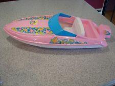 """1996 Mattel 20"""" Barbie Pink Sparkle Beach Speedboat Doll Toy ~ Vguc"""