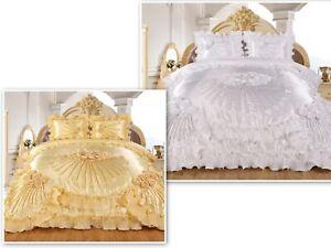 3pc Hiyam Real 3D Burgundy Comforter Set Bedspread Flower Ruffle Oversized Q/K