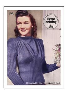 Knitting Pattern for a 1940's Wartime Draped Front Sweater Bust 34 and 36