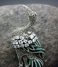 STERLING SILVER MARCASITE GREAT HERON BROOCH FREE FAST SHIPPING !!