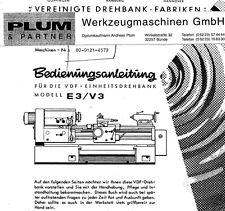 VDF Drehmaschine Bedienungsanleitung E3/V3