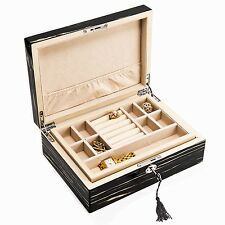 "LADIES ACCESSORIES - ""HILLSBOROUGH"" JEWELRY BOX - LACQUERED EBONY WOOD BOX"