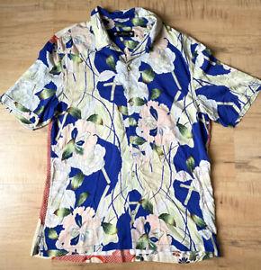 All Saints Blue/Red Floral Button Shirt Short Sleeve Mens Sz Large