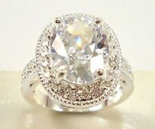 5Ct Oval Cut Simulant Diamond Solitaire Statement Ring White Gold Finish Silver