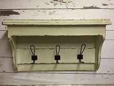 Cream Wooden Distressed Shabby Chic 3 Hook Wall Unit Hallway Porch Bedroom