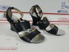 Michael Kors Womens Black Pebble Leather Wedge Sandals Heels Size 9.5 M