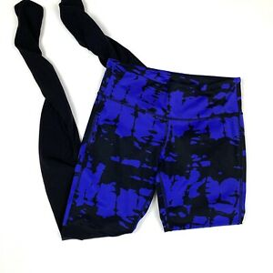 Alo Sz S Goddess Legging Electric Blue & Black Skinny Mid Rise Print Yoga Small