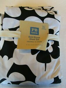 Pottery Barn Teen Black and white Bold Bloom sheet set XL twin  New
