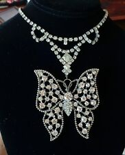 Vintage Necklace Giant Rhinestone Butterfly Pendant Matching Collar