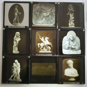 Antique Glass Slide Collection Statues Religious Figures