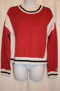 HOLLISTER womens M - RED Black White crewneck ringer pullover sweatshirt