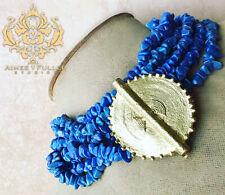 Statement Necklace JADE Blue Beads Sun Baule African Medallion Brass Pendant