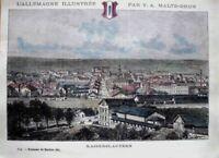 KAISERSLAUTERN.Gesamtansicht-MALTE BRUN-Handkolor.Holzstich um 1885.CLERGET: