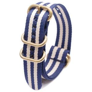 Luxury Nylon Watch Band Heavy Duty Gold Buckle Sport Bracelet 18 20MM 22MM 24 MM
