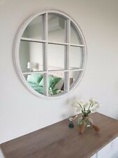 White wash Round Framed Mirror Hamptons style 90cm Diam. French provincial