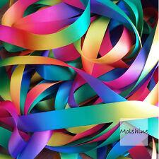 """Molshine 50yd 1"""" Double Face Satin Ribbon Rainbow Color Hair Bow Wedding Wrap"""