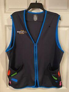 Walmart Blue Employee Uniform Vest Unisex Sleeveless Zip Up- Size Large