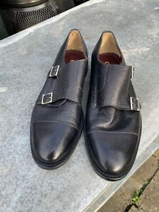 Mens Italian Leather Formal Double Buckle Monk Strap Shoes Size 7