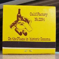 Rare Vintage Matchbook L3 California Sonoma Cheese Factory Plaza Historic Wine