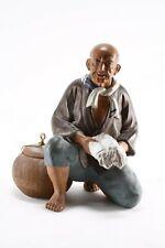 VINTAGE JAPAN HAKATA DOLL KNEELING OLD MAN STREET VENDOR CERAMIC FIGURINE