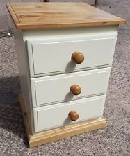 Country style Cream and Pine bedside cabinet 3 drawer chest locker Strong UK