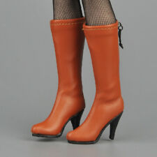 """1/6 Scale Female Mid-calf Knee High Boots Brown For 12"""" Female Figure Hot Toys"""