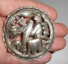 Large Antique Norwegian Silver 830S Marius Hammer dragon dragestil brooch Norway