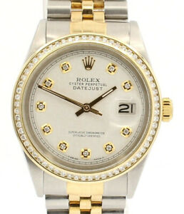 Mens ROLEX Oyster Perpetual Datejust 36mm White Jubilee Dial Diamond Watch