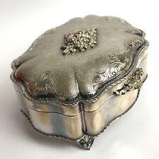 Vintage Italian 3VC 800 Silver Hallmarked Small Velvet Lined Trinket Box 291230