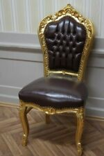 Barockstuhl Blatt gold   Skai braun antik Stil Massivholz. Replizierte Antiquitä