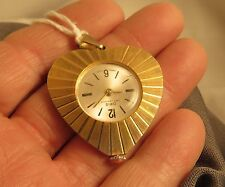 Swiss Watch Gold Tone Heart Shaped & Pendant (695)